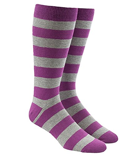 The Tie Bar Super Stripe Gray and Azalea Men's Cotton Blend Dress Socks