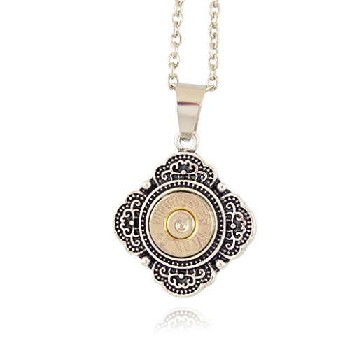 (Little Black Gun 45 Caliber Scallop Pendant Necklace, Silvertone Finish)