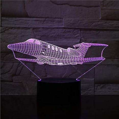 Avión Avión Luz de noche LED 3D 16 Luces de repuesto de color ...