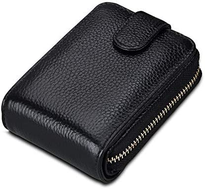 Color: Black Gimax Card /& ID Holders Men Women Genuine Leather Card Holder with Small Change Slots RFID Protector Fashion Travel Purse Unisex Credit Card Case