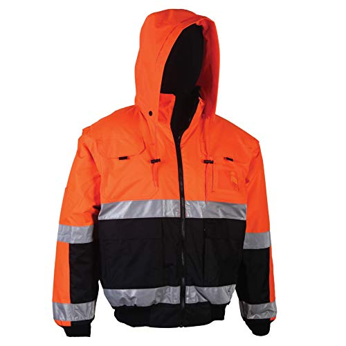 Safety Depot Safety Jacket Class 3 ANSI Approved 8 Pockets, Removable Sleeves, Reversible Clear ID Pocket, Detachable Hood & 4 Pen Divider slots 330C (Orange, ()
