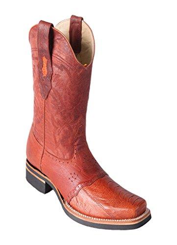 Wide Genuine Leg Leather Saddle with Altos Boots Skin Ostrich Los Rodeo Cognac Square Men's WqInE0