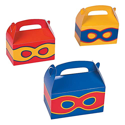(Fun Express - Superhero Treat Boxes for Birthday - Party Supplies - Containers & Boxes - Paper Boxes - Birthday - 12 Pieces)