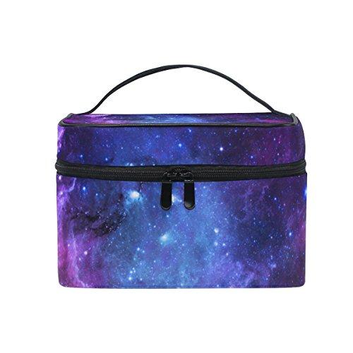 Cooper girl Nebula Purple Galaxy Cosmetic Bag Travel Makeup Train Cases Storage Organizer]()