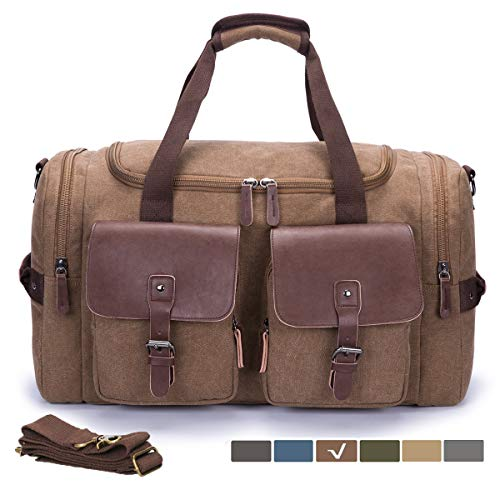 - WULFUL Canvas Leather Travel Duffel Bag Oversized Luggage Overnight Bag Shoulder Tote Weekender Bag