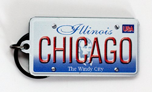 Chicago Illinois License Plate Acrylic Keychain 2.5