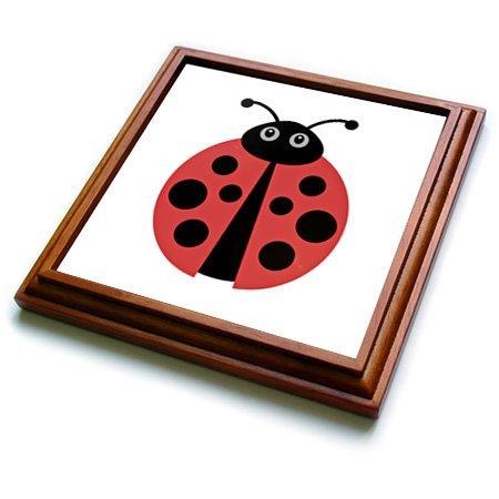Ladybug Ceramic Tile (3dRose trv_224191_1 Cute Cartoon Ladybug Trivet with Ceramic Tile, 8