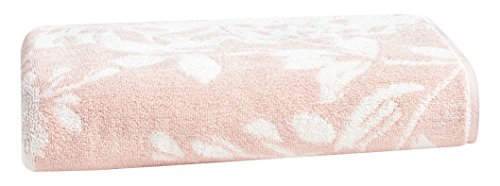 LOFT by Loftex Floral Block Jacquard Bath Towel, Morganite/Sugar Swizzle (Bath Loft)