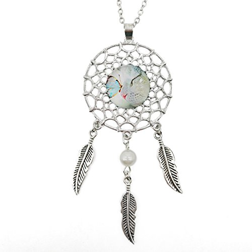 Silver Dream Catcher Necklace Cat Kiss Butterfly Glass Pendant Long Chain Dangling Feather Charms Jewelry for ()