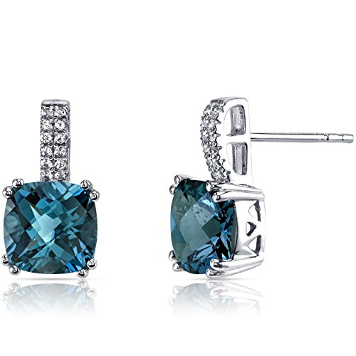 14K White Gold London Blue Topaz Earrings Cushion Checkerboard Cut 5.00 Carats -