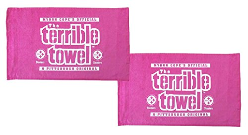 Pittsburgh Steelers Official Terrible Towels - Set of Two Pink - NFL at Steeler Mania