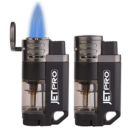 JETPRO Butane Torch Lighter 4 Jet Flames Cigar Lighter Refillable Gas Fuel Butane Lighter Red Flame with Butane Window (2PACKS)