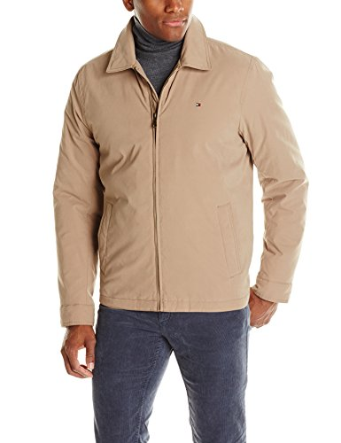 Tommy Hilfiger Men's Classic Micro-Twill Open Bottom Zip Front Jacket, Khaki, Large - Khaki Cotton Jacket