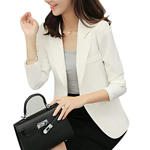 Fashion Ufficio Unico Fit Primaverile Bavero Autunno Tailleur Slim Business Formale Lunga Elegante Monocromo Bianca Cappotto Manica Outwear Donna Giubbino Blazer XqO81xSf