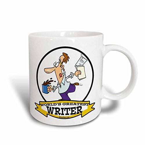 3dRose 103647_1 Funny Worlds Greatest Writer Occupation Job Cartoon Ceramic mug, 11 oz, White ()