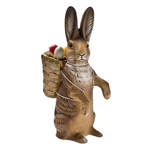 Candy Paper Mache - German paper-mache Easter rabbit candy container with basket, upright, brown