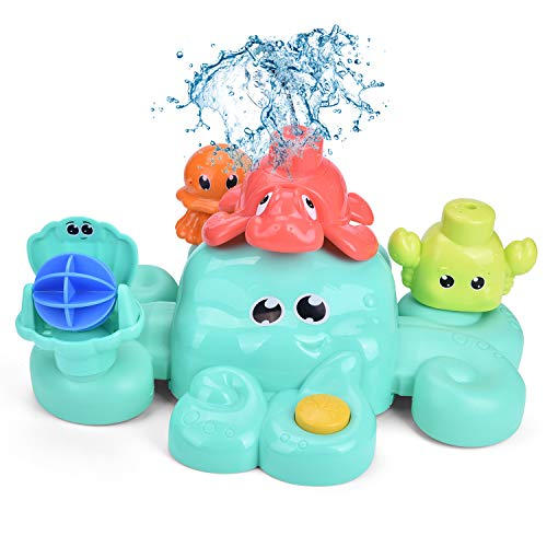 FunLittleToy Bath Toys for Toddlers, 5 PCs Bath Tub Toys Set, Spray Water Toys for Kids, Best Gifts for Boys & Girls