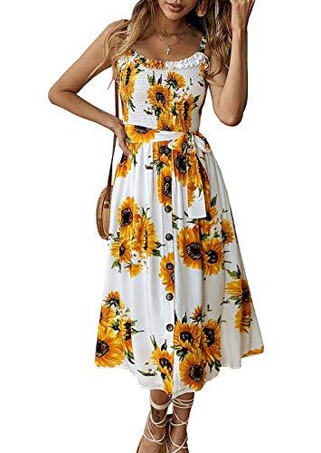 Grace's Secret Womens Summer Dress Casual Boho Strap Button Down Swing A-Line Midi Dress with Belt Yellow