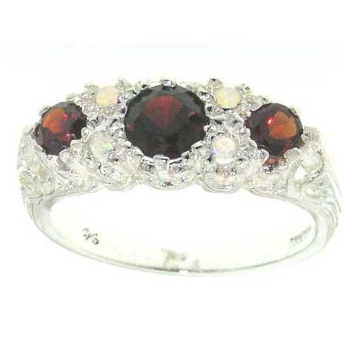 - 925 Sterling Silver Real Genuine Garnet and Opal Womens Cluster Ring - Size 11