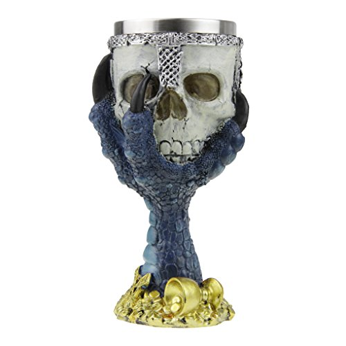Skeleton Wine Goblet Cup Spooky Halloween Party Scary Sculptures Medieval Gothic Figurine Kitchen Stainless Steel Falcon Claw Talon Bone Decor Collection Gift - 6oz -