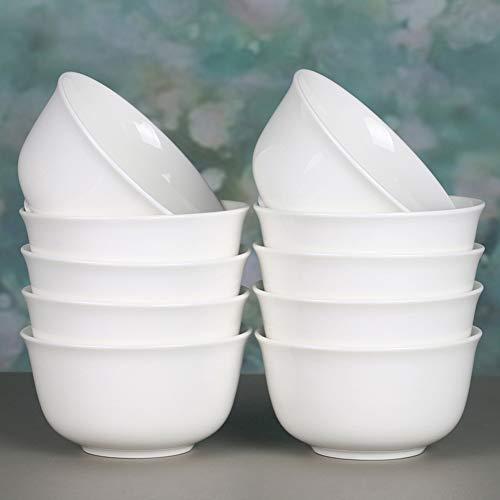 XNKL 10 oz Porcelain Soup/Cereal/Salad Bowls for Small Side Dishes,Fruit,Dip,Ice Cream,Dessert,White Rice Bowl Set-10 packs