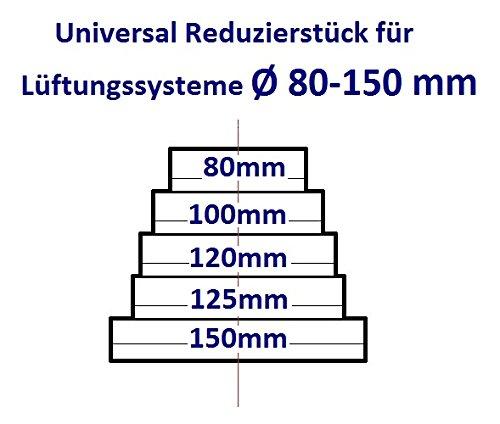 Universal rdrc. Reductor para sistemas de ventilaci/ón Di/ámetro 80-150 mm Reductor del conector Reducci/ón tubo di/ámetro 80 100 120 125 150 mm Transici/ón ventilaci/ón Tubo Redondo Canal