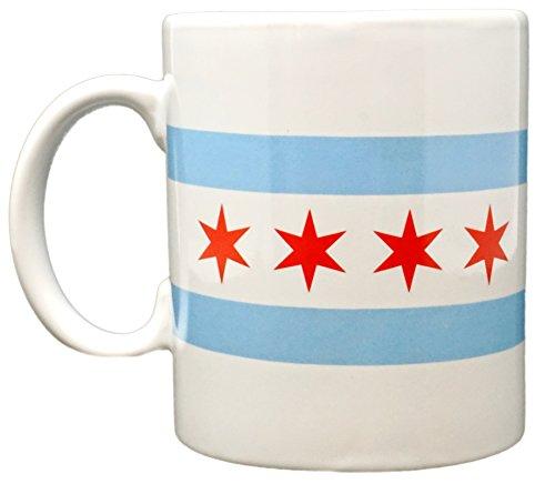 Funny Guy Mugs Chicago Flag Ceramic Coffee Mug, White, (Flag Colors Coffee Mugs)