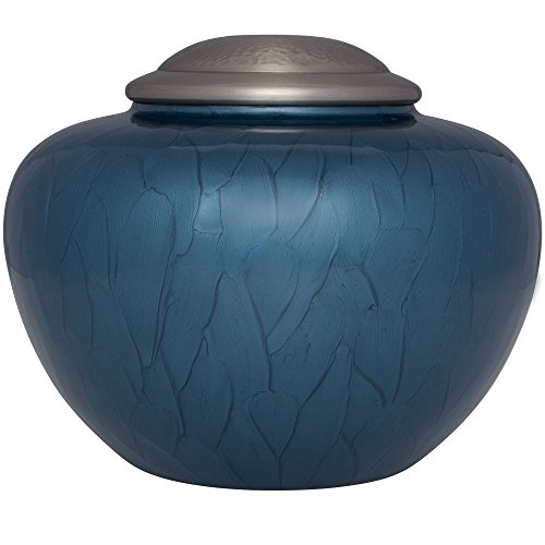 Blue Funeral Urn by Liliane Memorials - Cremation Urn for Human Ashes - Hand Made in Brass - Suitable for Cemetery Burial or Niche - Large Size fits remains of Adults up to 200 lbs - Nido Blue Model by Liliane Memorials