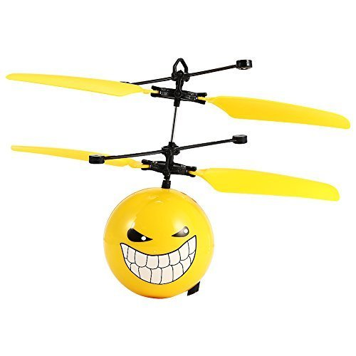 Hobbylane Infrared Sensor Aircraft,Hand Induced Flight Helicopter,Mini Emoji Balls RC Toys for Kids/Teenager,Learning Training Gift with Cartoon Expression (Grin)