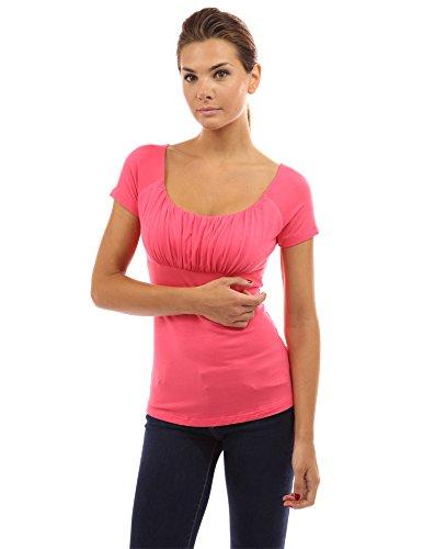 - PattyBoutik Women Scoop Neck Empire Waist Raglan Top (Coral Pink Small)