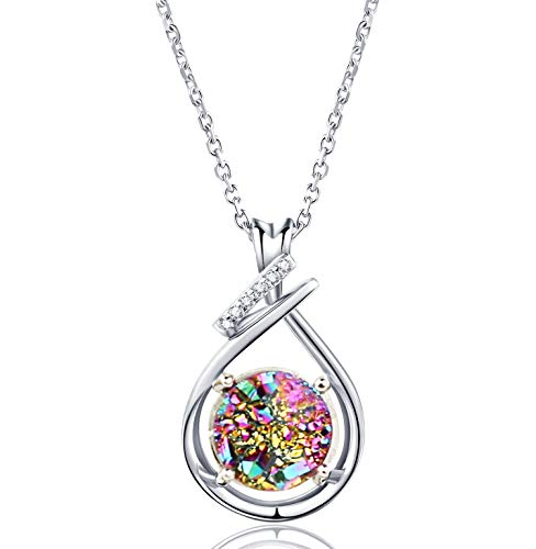 WISHMISS Sterling Silver 925 Natural Rainbow Druzy Necklace for Women (Drop)