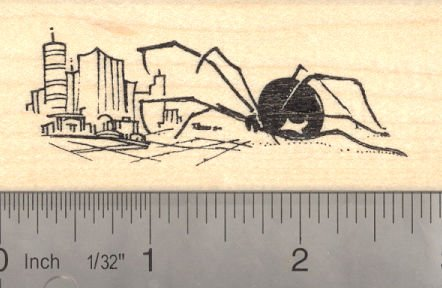 Giant Spider Attacking City Rubber Stamp