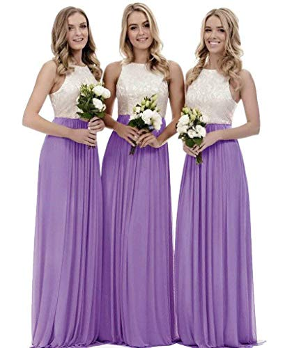 Lace Bridesmaid Dresses Long a-line Chiffon Evening Gown Wedding Party Womens 2019 Lilac 18 (Floor Gown Length A-line)