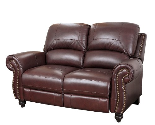 Abbyson Durham Leather Pushback Reclining Loveseat, Burgundy