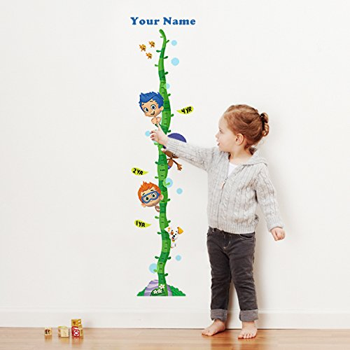 Bubble Guppies Boys Personalized Growth Chart Wall Decal for Nursery, Kids Room -