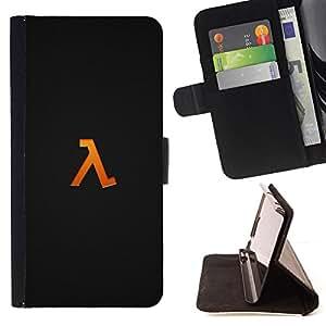 KingStore / Leather Etui en cuir / Samsung Galaxy Note 4 IV / Símbolo Half Life