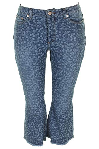 (Michael Michael Kors Petite Chambray Floral Printed Cropped Flare-Leg Jeans P)