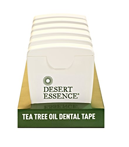 Desert Essence Tea Tree Oil Dental Floss Tape - 30 yards - Pack of 6 - Naturally Waxed w/Beeswax - Thick Flossing No Shred Tape - On the Go - Removes Food Debris Buildup - Cruelty-free Antiseptic