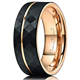 Three Keys Jewelry Nature 8mm Tungsten Carbide Mens Hammered Wedding Band Ring with Rose Gold Interior & Stripe for Men Inlay Engrave Engagement Black Size 9.5