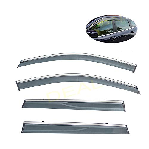 DEAL 4-piece set vent window visor with smoke chrome trim, window rain guard with outside mount tape-on type, custom fit high-class quality for 2014-2019 Jeep Cherokee All Models