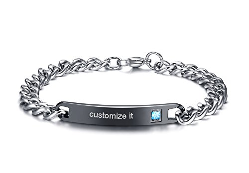 MEALGUET Personalized Gift Custom Engraving His and Hers Couples Stainless Steel Nameplate Bar Bracelets Set,Black