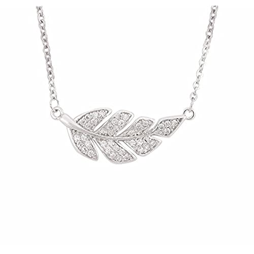 cheap QUANAGOL Necklace For Women, Charm Chain Cubic Zirconia Leaf Branch Pendant Necklaces, Luxury Love Valentines Gift And Mothers Day Gifts, Comes With Beautiful Jewelry Gift Box for cheap