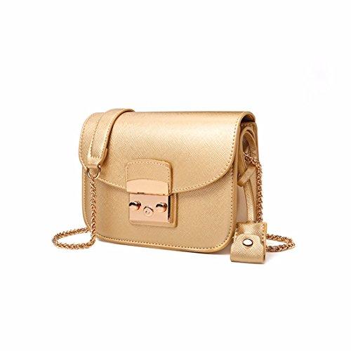 La cadena de moda bolso pequeño cuadrado bolsa bolso bolsos de otoño e invierno, amarillo Oro