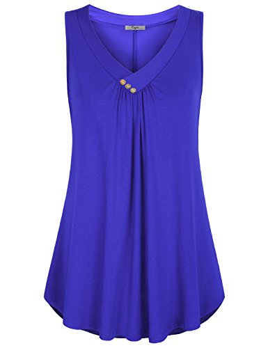 Cestyle Royal Blue Tank Top Womens,Feminine V Neck Sleeveless Tunic Tank Cute Pleasant Blouses Girls Knit from Fitting Shirts with Spandex Deal Day Prime XX-Large