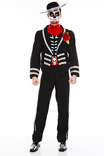 Music Legs Men's Day Of The Dead Miriachi, Black/White/Red, Large