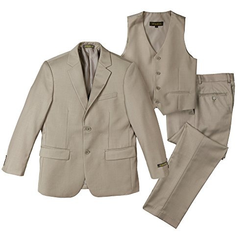 Spring Notion Big Boys' Two-Button Suit Set 10 3-Piece Tan