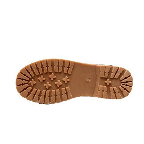 AllhqFashion Womens Buckle Low-Heels PU Solid Closed Round Toe Pumps-Shoes Darkbrown pNACZfg