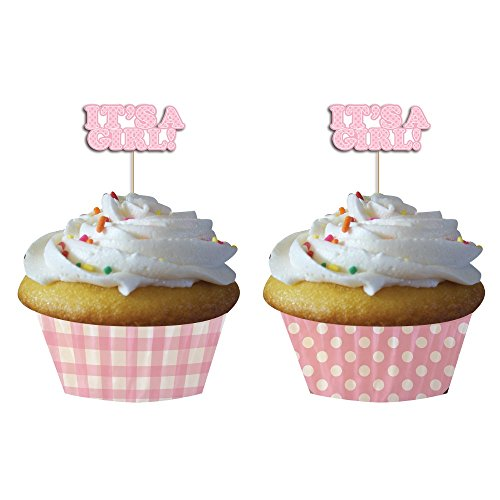 """Club Pack of 144 Precious Pink """"It's a Girl!"""" Cupcake Wrapper Baking Cups with Picks"""