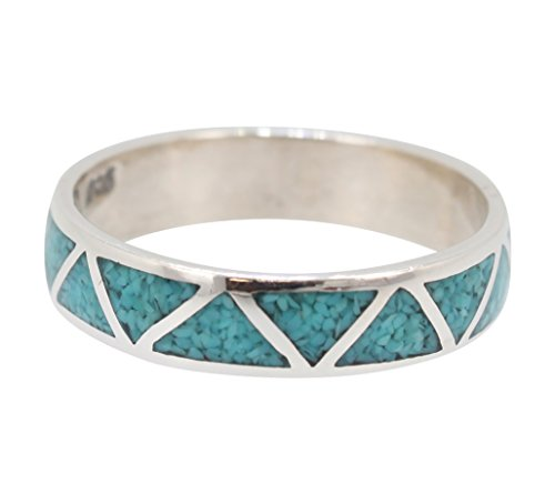 Sterling Silver Turquoise Inlay Ring (Southwestern Chevron Band Ring with Stabilized Turquoise Inlay and Sterling Silver for Men or Women (10))
