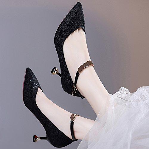 Alla moda gatto e e scarpe donna Sandali scarpe Moda Da alto autunno 40 primavera tutto corrisponde e con nuovi Donna le da Ajunr 6cm la piccoli M6tCKoM
